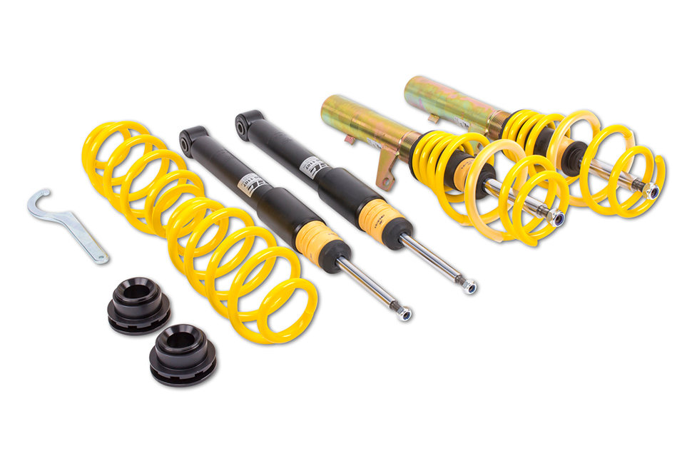All three ST coilover suspensions enable a continuous and maximum lowering of up to 65 millimeters on the drive axle and rear axle.