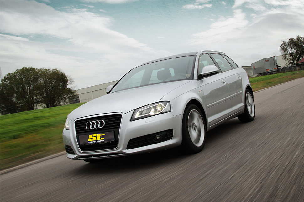 No matter whether it's discreet or the maximum technically possible: with our ST wheel spacers you ensure the perfect fine-tuning of your wheel/tire combination mounted on the Audi A3 (8P, 8PA).