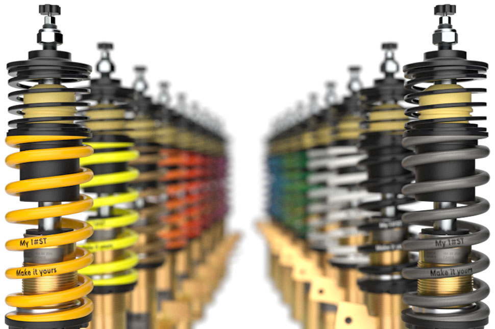 From now on, when ordering an ST XTA Coilover suspension, you can optionally choose the mainsprings with an additional individual spring marking and one of 18 colors.